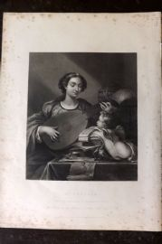 Gems of European Art 1846 Folio Print. St. Cecilia. Lute, Music